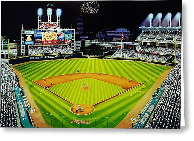Baseball Stadiums Paintings Greeting Cards - Cleveland Jackobs Nocturn Fireworks Greeting Card by Thomas  Kolendra