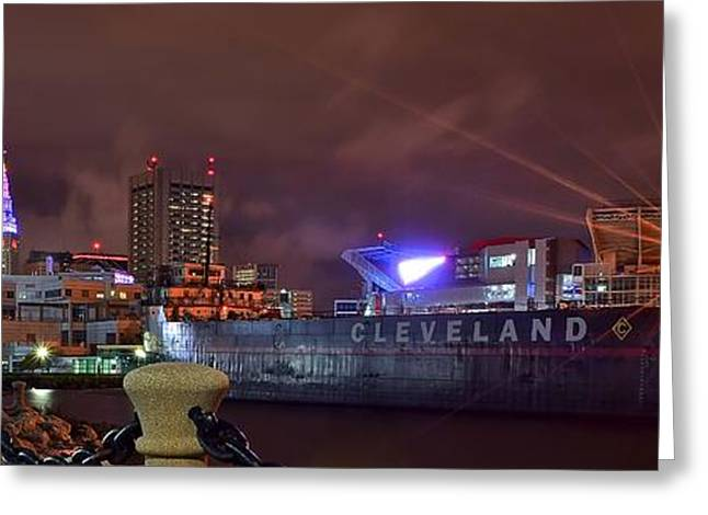 Basketballs Greeting Cards - Cleveland Lakefront Night Panorama Greeting Card by Frozen in Time Fine Art Photography