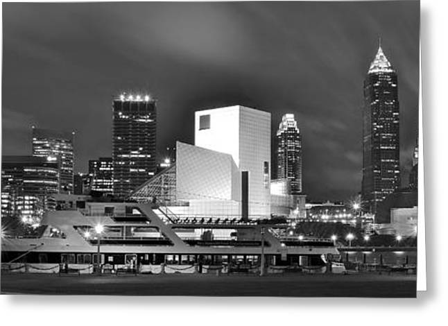 Fame Greeting Cards - Cleveland Lakefront Panoramic Greeting Card by Frozen in Time Fine Art Photography
