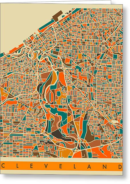 Cleveland Greeting Cards - Cleveland Map Greeting Card by Jazzberry Blue