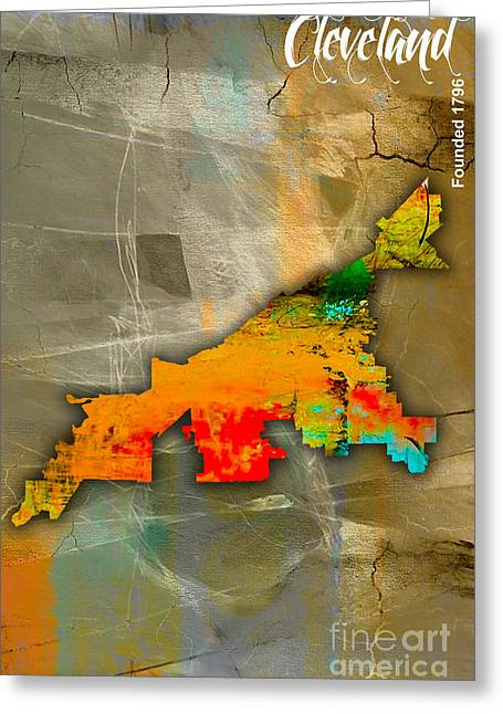 Cleveland Map And Skyline Watercolor Greeting Card by Marvin Blaine