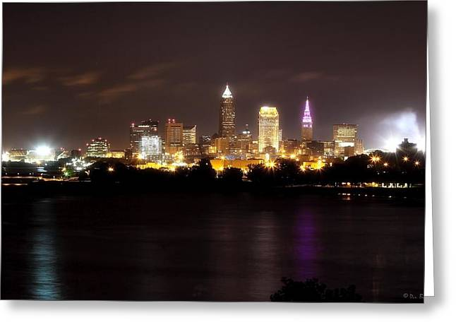 Ohio Pyrography Greeting Cards - Cleveland Nightime Skyline Greeting Card by Daniel Behm