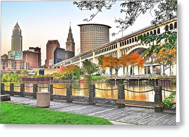 Veterans Stadium Greeting Cards - Cleveland Ohio Alongside the Cuyahoga Greeting Card by Frozen in Time Fine Art Photography