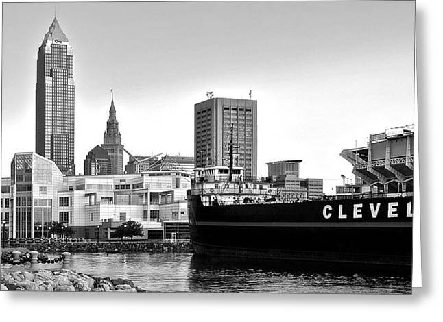 Rock N Roll Greeting Cards - Cleveland Ohio Black and White Panorama Greeting Card by Frozen in Time Fine Art Photography