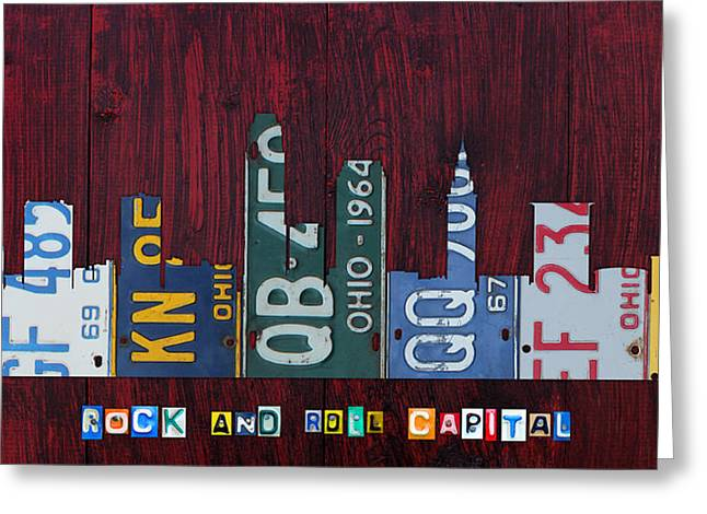 Cleveland Greeting Cards - Cleveland Ohio City Skyline License Plate Art on Wood Greeting Card by Design Turnpike