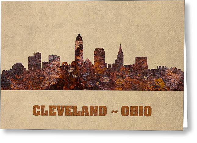 Rust Mixed Media Greeting Cards - Cleveland Ohio City Skyline Rusty Metal Shape on Canvas Greeting Card by Design Turnpike