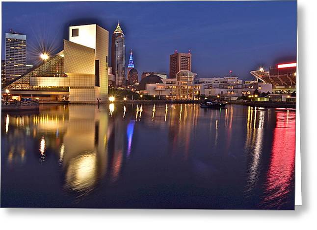Mecca Greeting Cards - Cleveland Ohio Lakefront Greeting Card by Frozen in Time Fine Art Photography