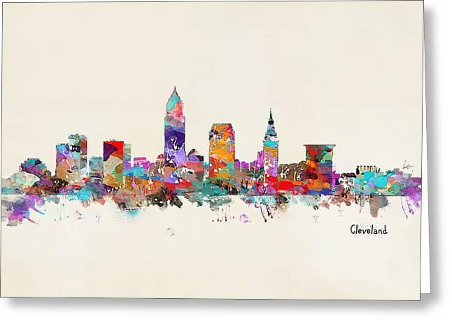 Cleveland Skyline Greeting Cards - Cleveland Ohio Skyline Greeting Card by Bri Buckley