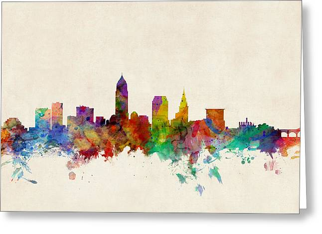 Urban Watercolour Greeting Cards - Cleveland Ohio Skyline Greeting Card by Michael Tompsett