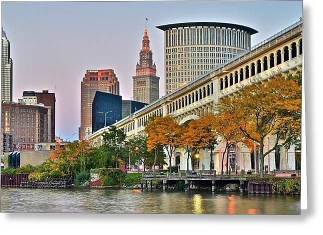 Cruise Terminal Greeting Cards - Cleveland Panorama Greeting Card by Frozen in Time Fine Art Photography