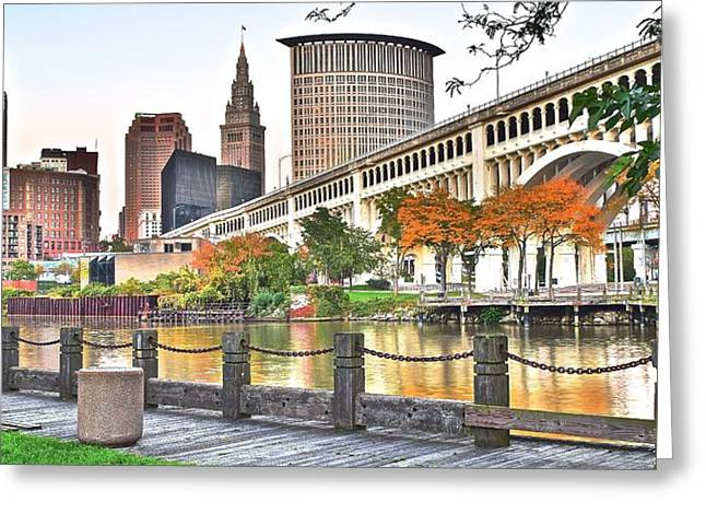 Veterans Stadium Greeting Cards - Cleveland Panorama Over The Cuyahoga Greeting Card by Frozen in Time Fine Art Photography
