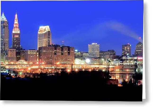 Progressive Field Greeting Cards - Cleveland Panoramic      Greeting Card by Frozen in Time Fine Art Photography