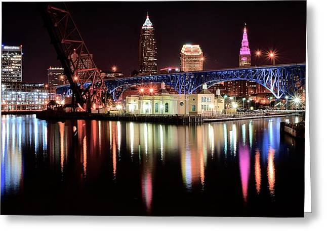 Town Square Greeting Cards - Cleveland Panoramic Reflection Greeting Card by Frozen in Time Fine Art Photography