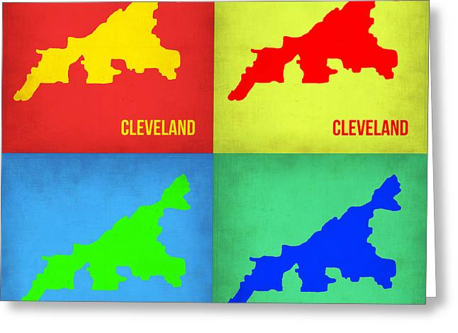 Cleveland Greeting Cards - Cleveland Pop Art map 1 Greeting Card by Naxart Studio