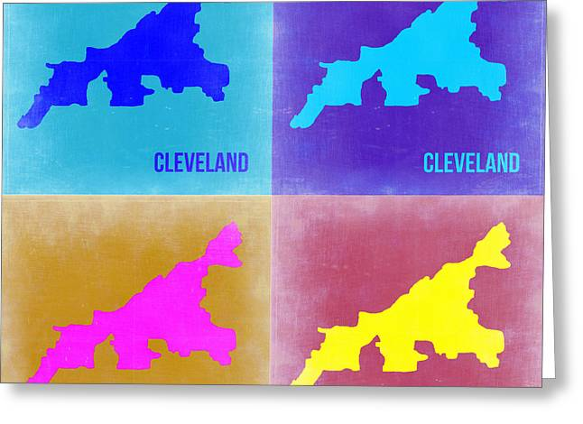 Cleveland Greeting Cards - Cleveland Pop Art map 2 Greeting Card by Naxart Studio