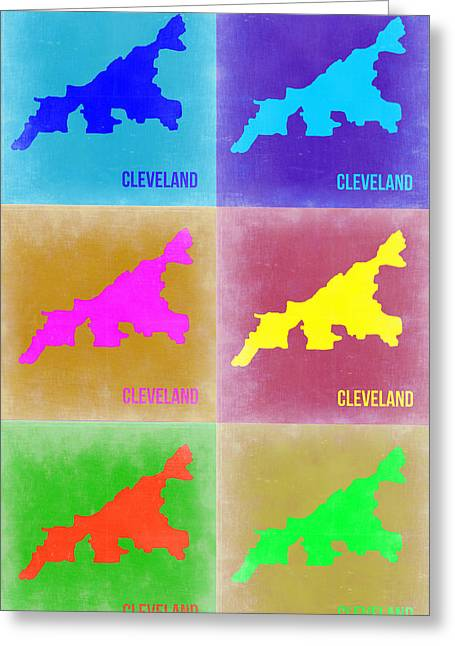 American Country Art Greeting Cards - Cleveland Pop Art Map 3 Greeting Card by Naxart Studio