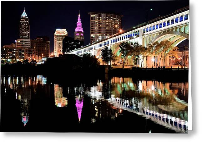 Veterans Stadium Greeting Cards - Cleveland Ohio Reflects Greeting Card by Frozen in Time Fine Art Photography