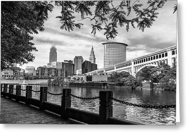 Cuyahoga River Greeting Cards - Cleveland River Cityscape Greeting Card by Dale Kincaid