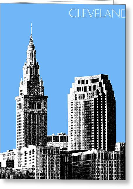 Sketch Greeting Cards - Cleveland Skyline 1 - Light Blue Greeting Card by DB Artist