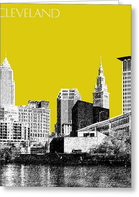 Sketch Greeting Cards - Cleveland Skyline 3 - Mustard Greeting Card by DB Artist