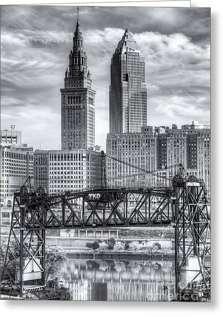 Cuyahoga River Greeting Cards - Cleveland Skyline and the Flats II Greeting Card by Clarence Holmes