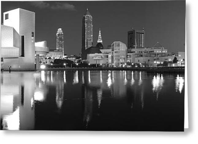 Rock Roll Greeting Cards - Cleveland Skyline at Dusk Black and White Greeting Card by Jon Holiday