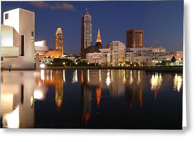 Skyline Greeting Cards - Cleveland Skyline at Dusk Greeting Card by Jon Holiday