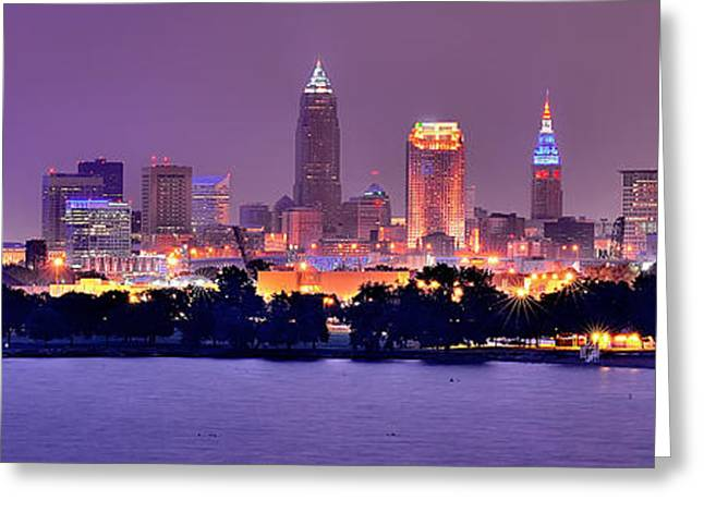 Dusk Greeting Cards - Cleveland Skyline at Night Evening Panorama Greeting Card by Jon Holiday
