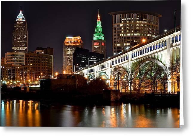 Basketballs Greeting Cards - Cleveland Skyline at Night Greeting Card by Frozen in Time Fine Art Photography
