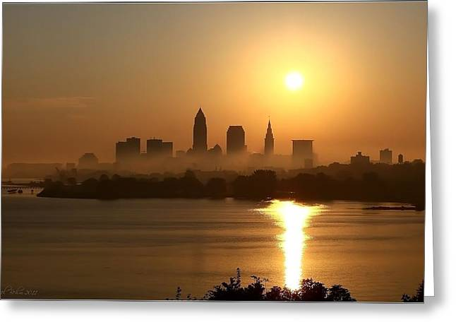 Skyline Pyrography Greeting Cards - Cleveland Skyline at Sunrise Greeting Card by Daniel Behm