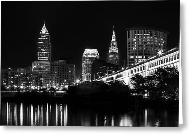 Ohio River Photographs Greeting Cards - Cleveland Skyline Greeting Card by Dale Kincaid