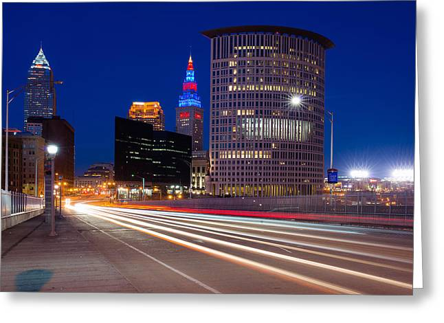 Progressive Field Greeting Cards - Cleveland Skyline Masterpiece Greeting Card by Clint Buhler