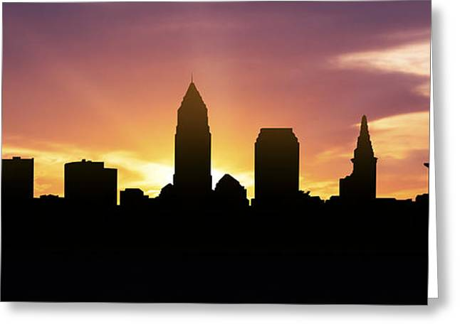 Down Town Greeting Cards - Cleveland Skyline Panorama Sunset Greeting Card by Aged Pixel