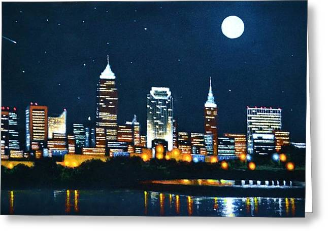 Glow Murals Greeting Cards - Cleveland Skyline Greeting Card by Thomas Kolendra
