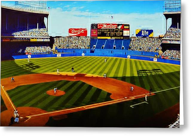 Baseball Mural Pictures Greeting Cards - Cleveland Stadium Greeting Card by Thomas  Kolendra