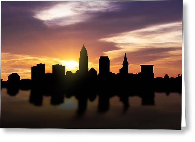 Color Colorful Mixed Media Greeting Cards - Cleveland Sunset Skyline  Greeting Card by Aged Pixel
