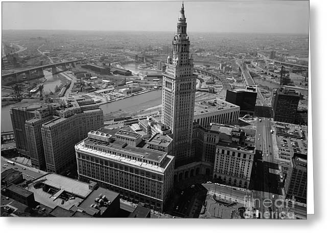 Union Square Greeting Cards - Cleveland Terminal Tower Greeting Card by Historic Vantage