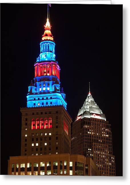 Cleveland Photographs Greeting Cards - Cleveland Towers Greeting Card by Dale Kincaid