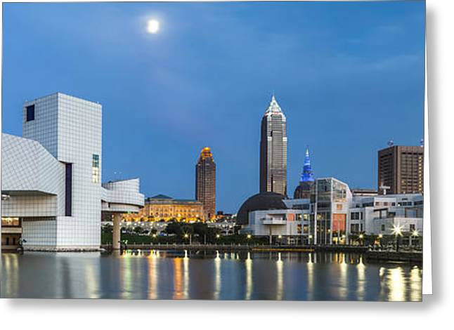 Fame Greeting Cards - Cleveland Twilight Greeting Card by Jennifer Grover