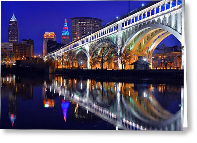 Cleveland Photographs Greeting Cards - Cleveland Ultra-Rez Panoramic Greeting Card by Clint Buhler