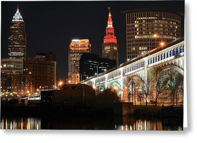 Veterans Stadium Greeting Cards - Cleveland Up Close Greeting Card by Frozen in Time Fine Art Photography
