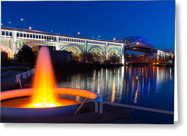 Cuyahoga River Greeting Cards - Cleveland Veterans Bridge Fountain Greeting Card by Clint Buhler