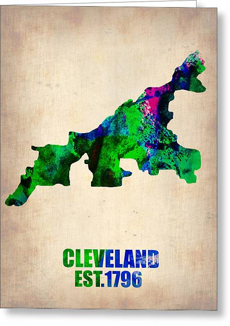 Usa City Map Greeting Cards - Cleveland Watercolor Map Greeting Card by Naxart Studio