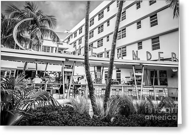 Historic District Greeting Cards - Clevelander Hotel Art Deco District SOBE Miami Florida - Black and White Greeting Card by Ian Monk