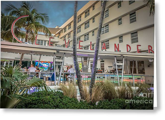 Poolside Greeting Cards - Clevelander Hotel Art Deco District SOBE Miami Florida - HDR Sty Greeting Card by Ian Monk