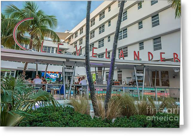Poolside Greeting Cards - Clevelander Hotel Art Deco District SOBE Miami Florida Greeting Card by Ian Monk
