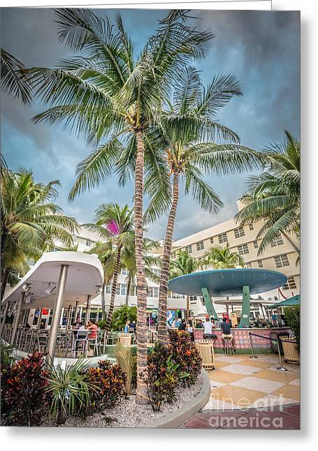 Poolside Greeting Cards - Clevelander Hotel Illuminated Palms SOBE Miami Florida - HDR Sty Greeting Card by Ian Monk
