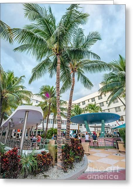 Poolside Greeting Cards - Clevelander Hotel Illuminated Palms SOBE Miami Florida Greeting Card by Ian Monk