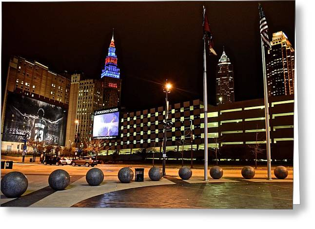 The Big Three Greeting Cards - Clevelands Big Three from The Q Greeting Card by Frozen in Time Fine Art Photography