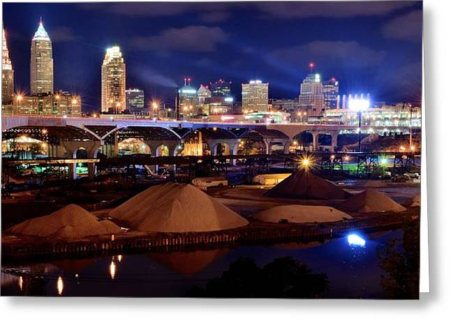 Progressive Field Greeting Cards - Clevelands Industrial Side Greeting Card by Frozen in Time Fine Art Photography